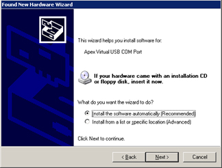 "Select ""Install the software automatically"""